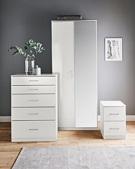 Porto Gloss 3 Piece Bedroom Package (Bedside, 5 Drawer Chest, 2 Door Wardrobe)