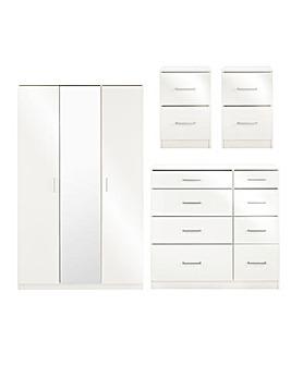 Porto Gloss 4 Piece Bedroom Package (2x Side, 4+4 Drawer Chest, 3 Door Wardrobe)