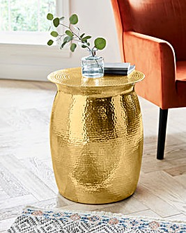 Aula Hammered Metal Side Table
