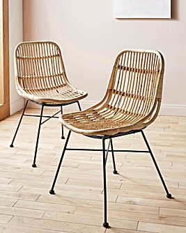 Pair of Aurora Rattan Dining Chairs