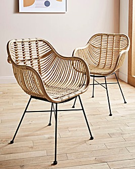 Emilio Pair of Rattan Dining Chairs
