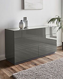 Allure High Gloss 6 Drawer Wide Chest
