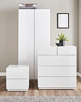 Allure Gloss 3 Piece Bedroom Package(Bedside, 3+2 Drawer Chest, 2 Door Wardrobe)