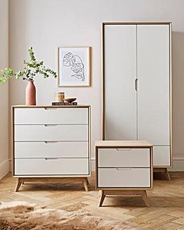 Ezra 3 Piece Bedroom Package (Bedside, 4 Drawer Chest, 2 Door Wardrobe)