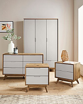 Ezra 4 Piece Bedroom Package (2xBedside, 6 Drawer Wide Chest, 3 Door Wardrobe)