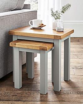 Faversham Assembled Oak & Painted Nest of Tables