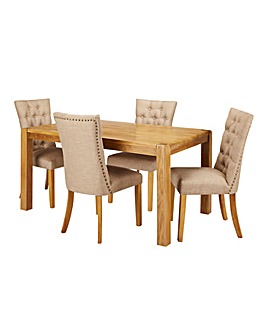 Hendon Oak Dining Table with 4 Shaftsbury Chairs