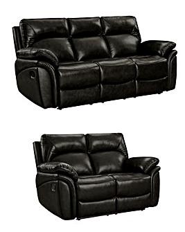 Warwick Luxury Leather 3 plus 2 Seater Recliner Sofa