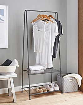 Metal Clothes Rail With 2 Shelves