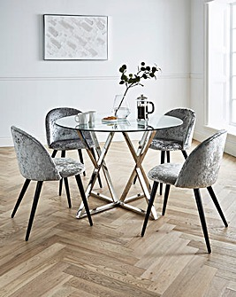 Estelle Circular Dining Table with 4 Palazzo Crushed Velvet Chairs