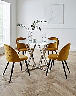 Estelle Circular Dining Table with 4 Klara Velvet Chairs