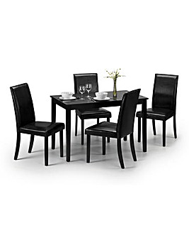 Primo Dining Table with 4 Faux Leather Dining Chairs
