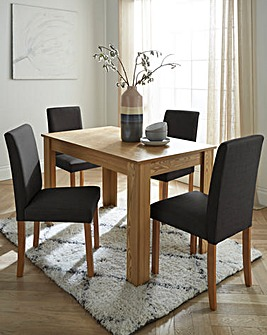 Ava Rectangular Dining Table with 4 Fabric Chairs