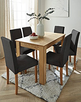 Ava Large Rectangular Dining Table with 6 Fabric Chairs