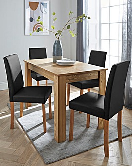 Ava Rectangular Dining Table with 4 Faux Leather Chairs
