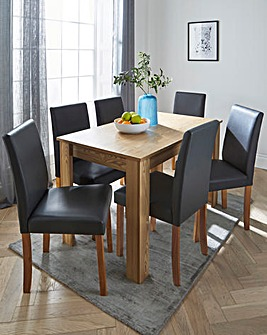 Ava Large Rectangular Dining Table with 6 Faux Leather Chairs