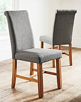Lincoln Pair of Fabric Dining Chairs