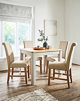 Logan Two-Tone Small Extending Dining Table with 4 Lincoln Dining Chairs