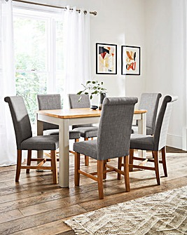 Logan Two-Tone Large Extending Dining Table with 6 Lincoln Dining Chairs