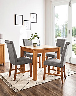 Logan Oak Small Extending Dining Table with 4 Lincoln Dining Chairs