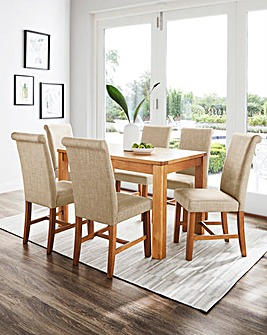 Logan Oak Large Extending Dining Table with 6 Lincoln Dining Chairs