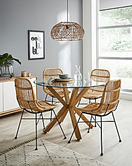 Bodie Dining Table with 4 Aurora Rattan Dining Chairs
