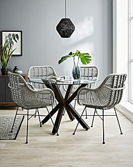 Bodie Dining Table with 4 Emilio Rattan Dining Chairs