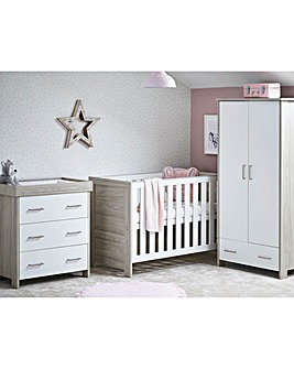 Obaby Nika Mini 3 Piece Roomset (Mini Cotbed, Dresser & Wardrobe)