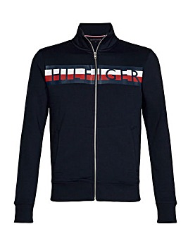 Tommy Zip-Through Stripe Logo Sweat