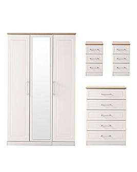 Taunton Assembled 4 Piece Package (2xBedsides, 5 Drawer Chest, 3 Door Wardrobe)
