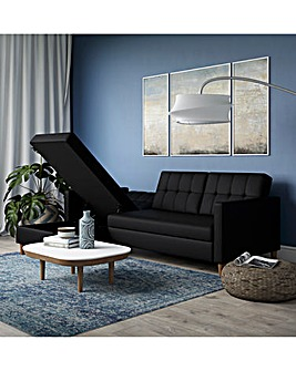 Taylor Faux Leather Corner Storage Sofabed