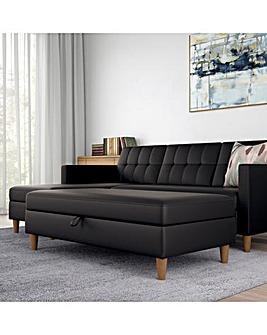 Taylor Faux Leather Storage Ottoman