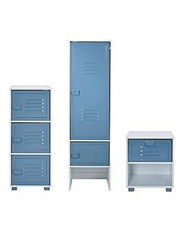 Colby Locker 3 Piece Set (1 Drawer Bedside, 3 Drawer Chest, 2 Doro Wardrobe)