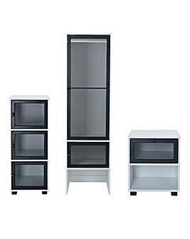 Kenz Industrial 3 Piece Set (1 Drawer Bedside, 3 Drawer Chest, 2 Doro Wardrobe)