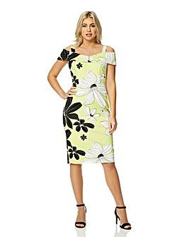 Roman Floral Print Cold Shoulder Dress