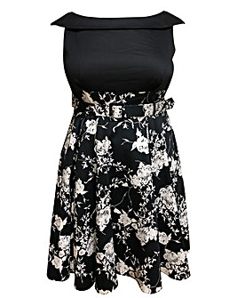 emily Courtney Contrast A Line Dress