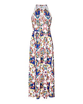 Yumi Curves Scraf Print Maxi Dress