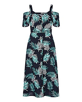Yumi Curves Floral Cold Shoulder Dress
