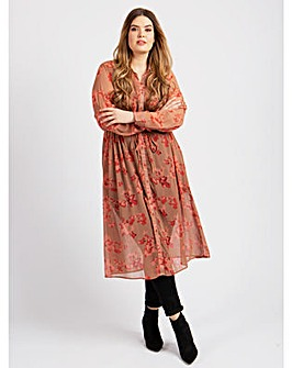 Koko Floral Sheer Maxi Shirt Dress
