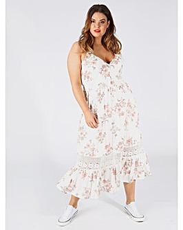 Koko White Floral Midi Dress