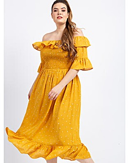 Koko Floral Mustard Bardot Midi Dress