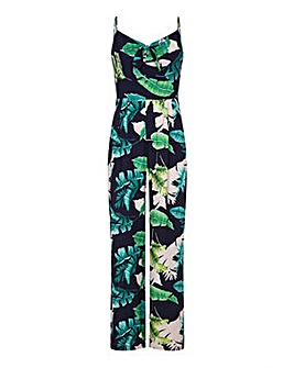 Yumi Curves Tropical Palm Print Jumpsuit