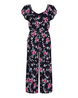 Yumi Curves Rose Print Jumpsuit