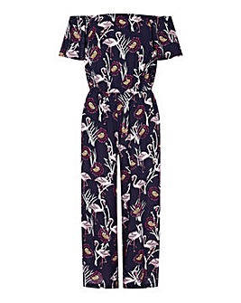 Yumi Curves Flamingo Bardot Jumpsuit