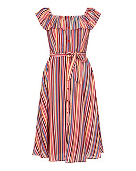 Yumi Curves Rainbow Stripe Bardot Dress