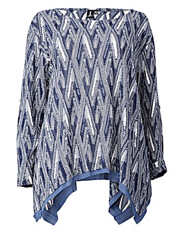 Izabel London Curve GeoPrint Tunic Top