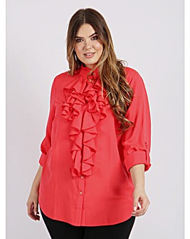 Lovedrobe GB Coral Ruffle Front Shirt