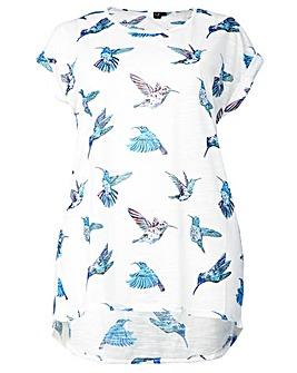 Izabel London Curve Birds Print T-Shirt