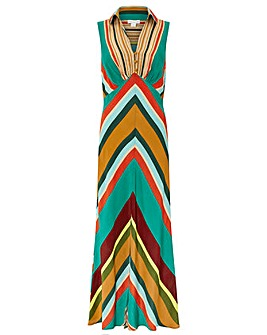 Monsoon Samira Stripe Print Maxi Dress