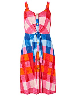 Monsoon Chessie Check Print Jersey Dress